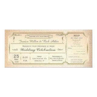 Vintage Elegant Wedding Ticket Invitation w/ RSVP