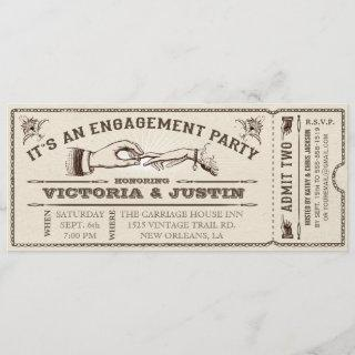 Vintage Engagement Party Ticket Invitations III