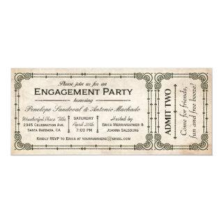 Vintage Engagement Party Ticket Invitations I
