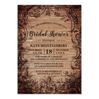 Vintage Engraved Wood Bridal Shower Invitation