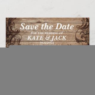 Vintage Engraved Wood | Save The Date