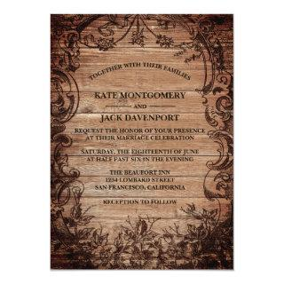 Vintage Engraved Wood Wedding Invitations