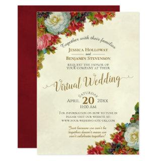 Vintage Fall Flowers Ivory & Gold Virtual Wedding Invitation