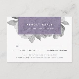 Vintage Floral Meal Choice RSVP Card | Violet