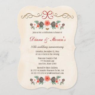 VINTAGE FLORAL PINE CONE CHRISTMAS ANNIVERSARY INVITATION