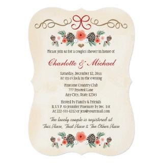 Vintage Floral Pinecone Christmas Couples Shower Invitations