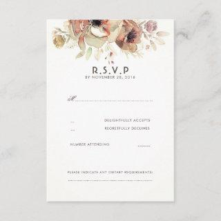 Vintage Floral Watercolor Wedding RSVP Cards
