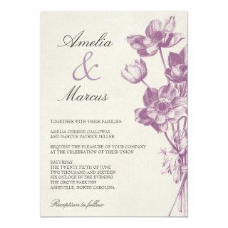 Vintage Floral Wedding Invitations / Cream