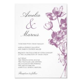 Vintage Floral Wedding Mini Invitations / White