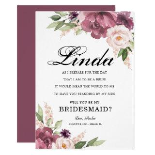 Vintage Floral Will You Be My Bridesmaid Proposal Invitations