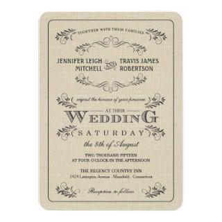 Vintage Flourish Burlap Wedding Invitations