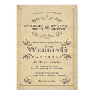 Vintage Flourish Parchment Wedding Invitations