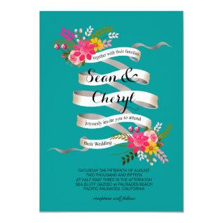 Vintage Folklore Floral Banner Ribbon Wedding Invitation