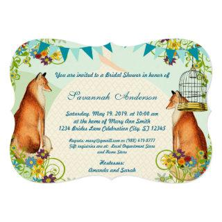 Vintage Fox Bunting Garden Bridal Shower Invites