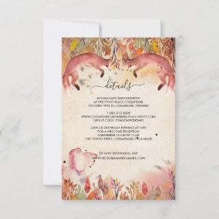Vintage Foxes Wedding Guest Information Card