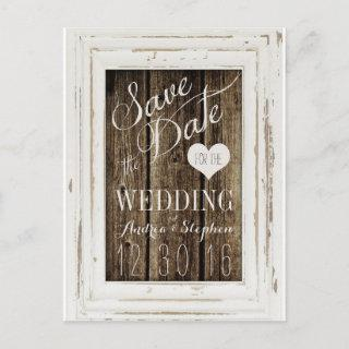 Vintage Frame Rustic Wood Typography Save the Date Announcement Postcard