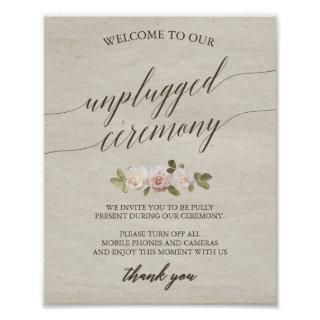 Vintage French Roses Unplugged Ceremony Sign