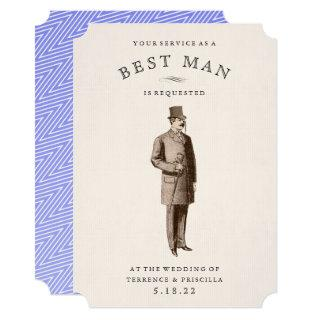 Vintage Gent | Best Man | Groomsman Request Card