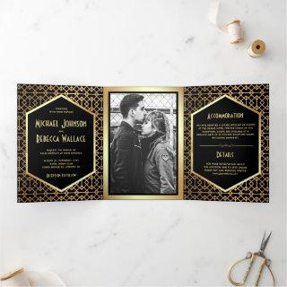 Vintage Geometric Art Deco Style Photo Wedding Tri-Fold Invitation