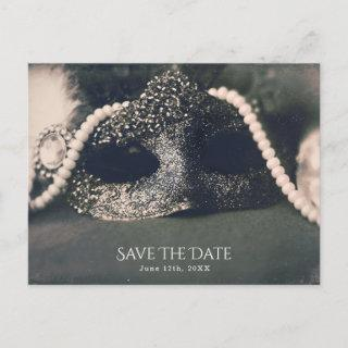 Vintage Glam Old Photo Masquerade Save the Date Announcement Postcard
