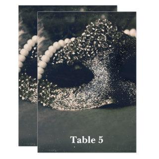Vintage Glam Old Photo Masquerade Table Number