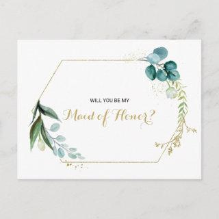 Vintage Gold and Green Eucalyptus Maid of Honor Invitation Postcard