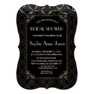 Vintage Gold Art Deco Fleur-de-lis Bridal Shower Invitation