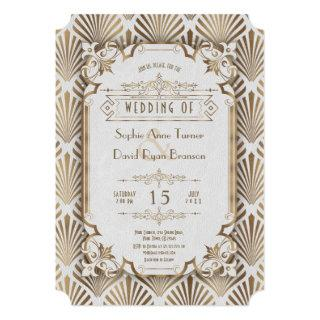 Vintage Gold Art Deco Great Gatsby 20s Wedding Invitations