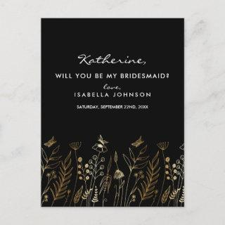 Vintage Gold Foil Black Will You Be My Bridesmaid? Invitations Postcard