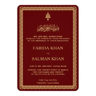 Vintage Gold Ornate Border Maroon Islamic Wedding Invitations