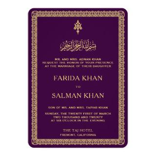 Vintage Gold Ornate Border Purple Islamic Wedding Invitations
