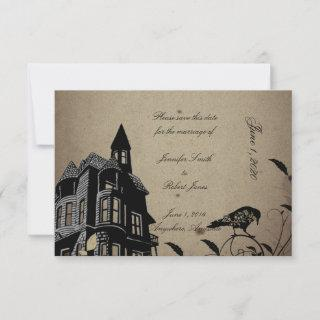 Vintage Gothic House Wedding Save the Date