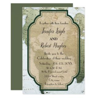Vintage Green world travel themed wedding Invitation