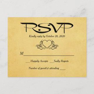 Vintage Heart Gold & Black RSVP Wedding Response Invitations Postcard