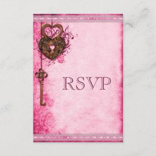 Vintage Heart Lock & Key Pink Wedding RSVP