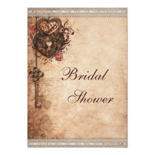 Vintage Hearts Lock and Key Bridal Shower Invitations