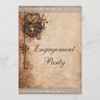 Vintage Hearts Lock and Key Engagement Party Invitations