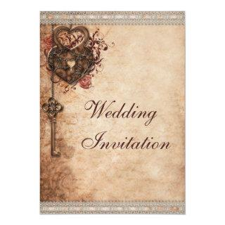 Vintage Hearts Lock and Key Wedding Invitations