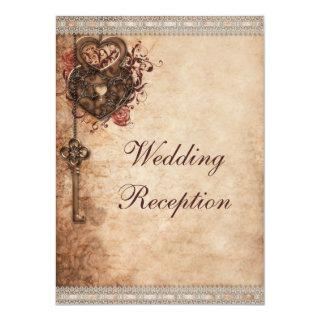 Vintage Hearts Lock and Key Wedding Reception Invitation