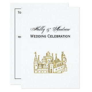 Vintage Heraldic Castle #2 Crest Faux Gold Invitations