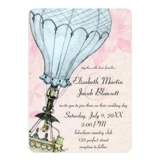 Vintage Hot Air Balloon Closeup Wedding Invitations