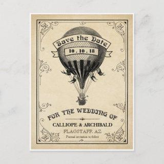Vintage Hot Air Balloon Wedding Save the Date Announcement Postcard