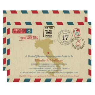 Vintage Italy Airmail | Wedding Bridal Shower Invitation