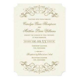 Vintage Ivory and Antique Gold Flourish Wedding Invitations
