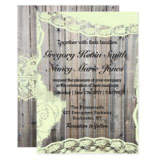 Vintage Ivory Lace on Gray Wood Rustic Invitations