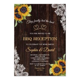 Vintage Lace Rope We Tied The Knot Sunflowers BBQ Invitation