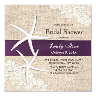 Vintage Lace Starfish Purple Ribbon Bridal Shower Invitation