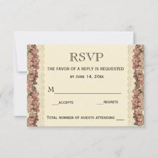 Vintage Lace Wedding Cherry Blossoms  RSVP Card