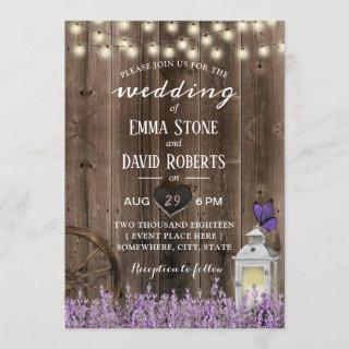 Vintage Lantern Lavender Floral Barn Wood Wedding Invitations
