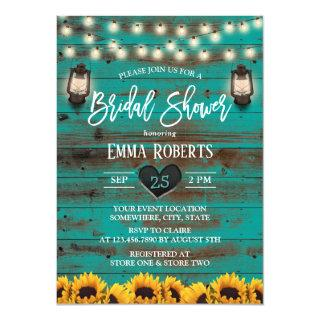 Vintage Lantern Sunflower Teal Wood Bridal Shower Invitations